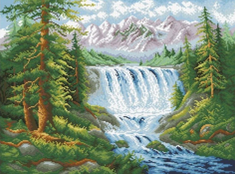 Алмазная вышивка «Лесной водопад»Алмазная вышивка Паутинка<br><br><br>Артикул: М-407<br>Основа: Холст без подрамника<br>Сложность: сложные<br>Размер: 41x55 см<br>Выкладка: Полная<br>Количество цветов: 32<br>Тип страз: Квадратные
