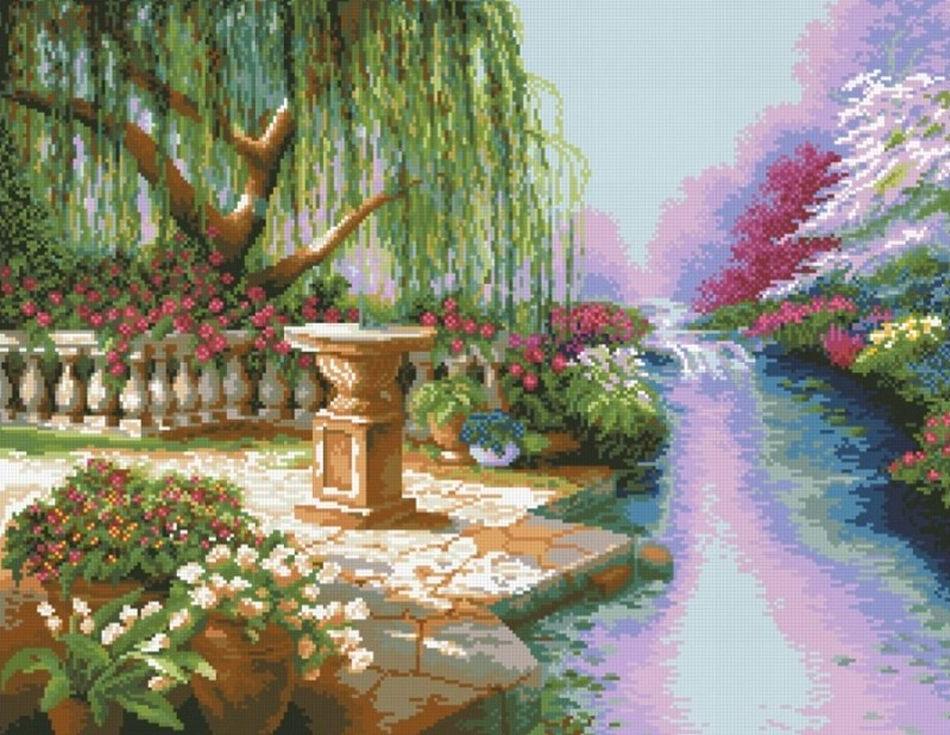 Стразы «Ивовый сад»Алмазная вышивка Паутинка<br><br><br>Артикул: М-408<br>Основа: Холст без подрамника<br>Сложность: очень сложные<br>Размер: 62x48 см<br>Выкладка: Полная<br>Количество цветов: 36<br>Тип страз: Квадратные