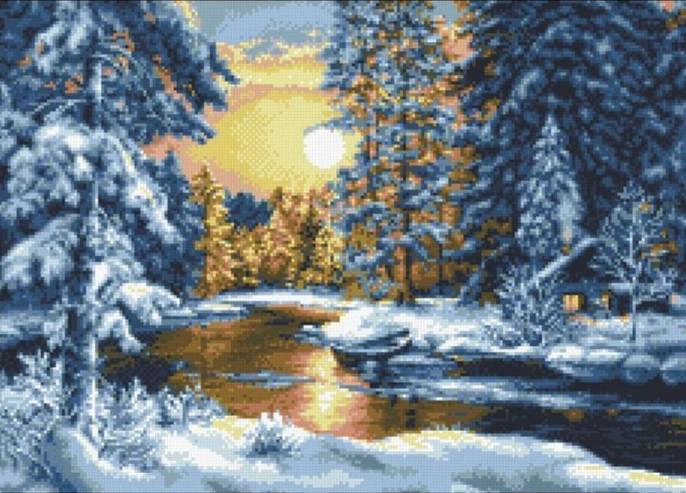 Алмазная вышивка «Зимний вечер»Алмазная вышивка Паутинка<br><br><br>Артикул: М-410<br>Основа: Холст без подрамника<br>Сложность: сложные<br>Размер: 53x38 см<br>Выкладка: Полная<br>Количество цветов: 20<br>Тип страз: Квадратные