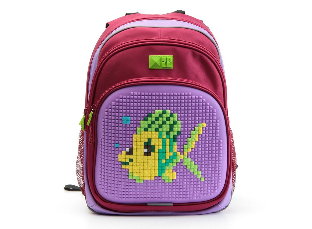 Рюкзак 4ALL Kids с битами, красно-сиреневыйПиксельные рюкзаки<br><br><br>Артикул: RK61-04N<br>Вес: 950 г<br>Размер готовой модели: 27x17x39 см<br>Цвет: Красно-сиреневый<br>Серия: 4ALL Kids<br>Материал: Полиэстер/силикон<br>Объем: 19 л<br>Возраст: от 6 лет<br>Размер битов: Маленькие<br>Цвета битов на выбор: 25 цветов<br>Цвета силиконовой панели на выбор: 7 цветов