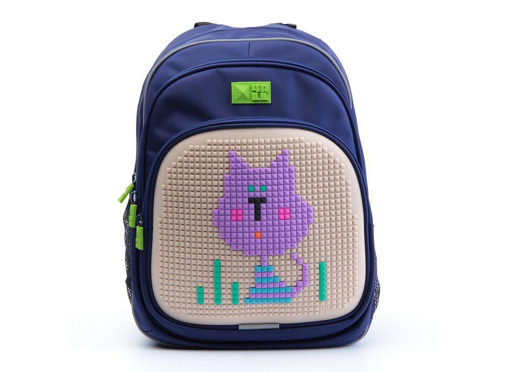 Рюкзак 4ALL Kids с битами, сине-бежевыйПиксельные рюкзаки<br><br><br>Артикул: RK61-11N<br>Вес: 950 г<br>Размер готовой модели: 27x17x39 см<br>Цвет: Сине-бежевый<br>Серия: 4ALL Kids<br>Материал: Полиэстер/силикон<br>Объем: 19 л<br>Возраст: от 6 лет<br>Размер битов: Маленькие<br>Цвета битов на выбор: 25 цветов<br>Цвета силиконовой панели на выбор: 7 цветов