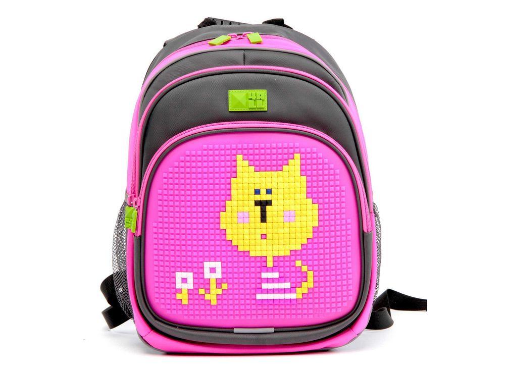 Рюкзак 4ALL Kids с битами, серо-розовыйПиксельные рюкзаки<br><br><br>Артикул: RK61-13N<br>Вес: 950 г<br>Размер готовой модели: 27x17x39 см<br>Цвет: Серо-розовый<br>Серия: 4ALL Kids<br>Материал: Полиэстер/силикон<br>Объем: 19 л<br>Возраст: от 6 лет<br>Размер битов: Маленькие<br>Цвета битов на выбор: 25 цветов<br>Цвета силиконовой панели на выбор: 7 цветов