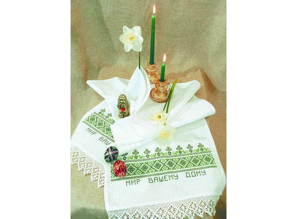 Набор для вышивания «Мир Вашему дому»Вышивка крестом Овен<br><br><br>Артикул: 004(П)<br>Основа: рушниковая ткань со вставками канвы по краям белого цвета<br>Размер: 160х40 см<br>Техника вышивки: счетный крест<br>Тип схемы вышивки: Цветная схема<br>Цвет канвы: Белый<br>Заполнение: Частичное<br>Рисунок на канве: не нанесён<br>Техника: Вышивка крестом