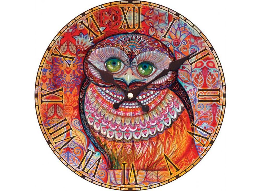 Часы настенные «Медовая сова»Дизайнерские настенные часы<br><br><br>Артикул: 012-CL<br>Размер: 34 см (диаметр)