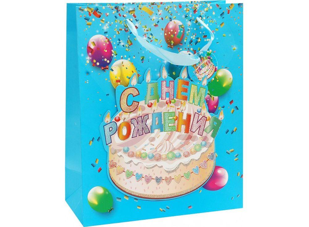 Подарочный пакет «Твой праздник»Подарочные пакеты<br><br><br>Артикул: 1072-SB<br>Размер: 26x32x10 см