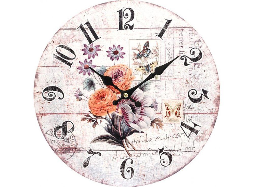 Часы настенные «Маленький букет»Дизайнерские настенные часы<br><br><br>Артикул: 136-CL<br>Размер: 34 см (диаметр)