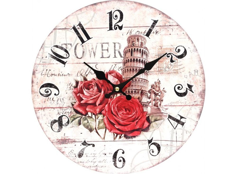 Часы настенные «Пизанская башня»Дизайнерские настенные часы<br><br><br>Артикул: 137-CL<br>Размер: 34 см (диаметр)