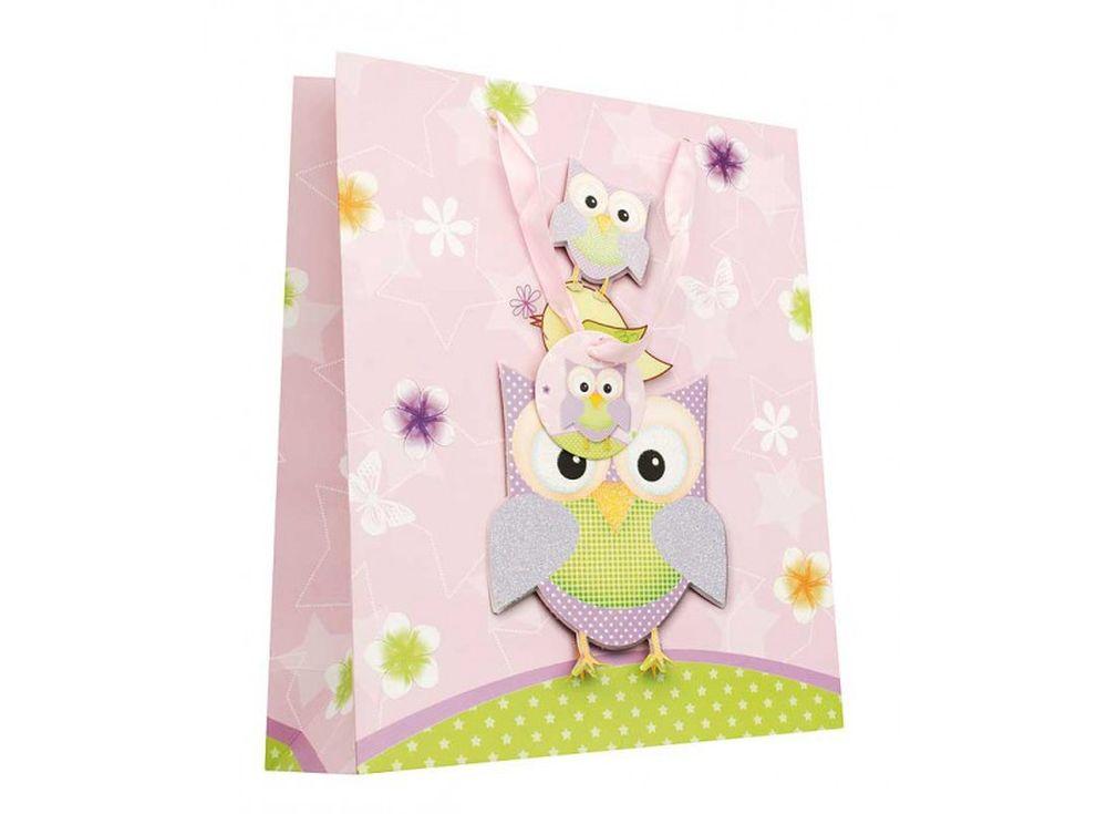 Подарочный пакет «Сиреневые совы»Подарочные пакеты<br><br><br>Артикул: 1407-SB<br>Размер: 30x12x42 см