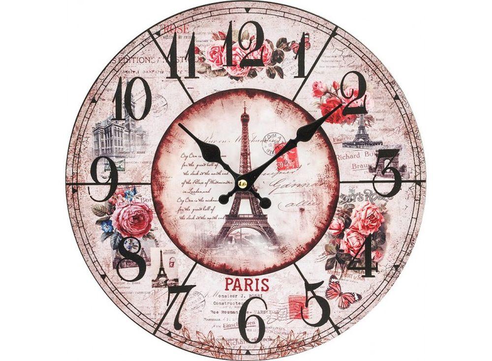 Часы настенные «Парижские розы»Дизайнерские настенные часы<br><br><br>Артикул: 141-CL<br>Размер: 34 см (диаметр)