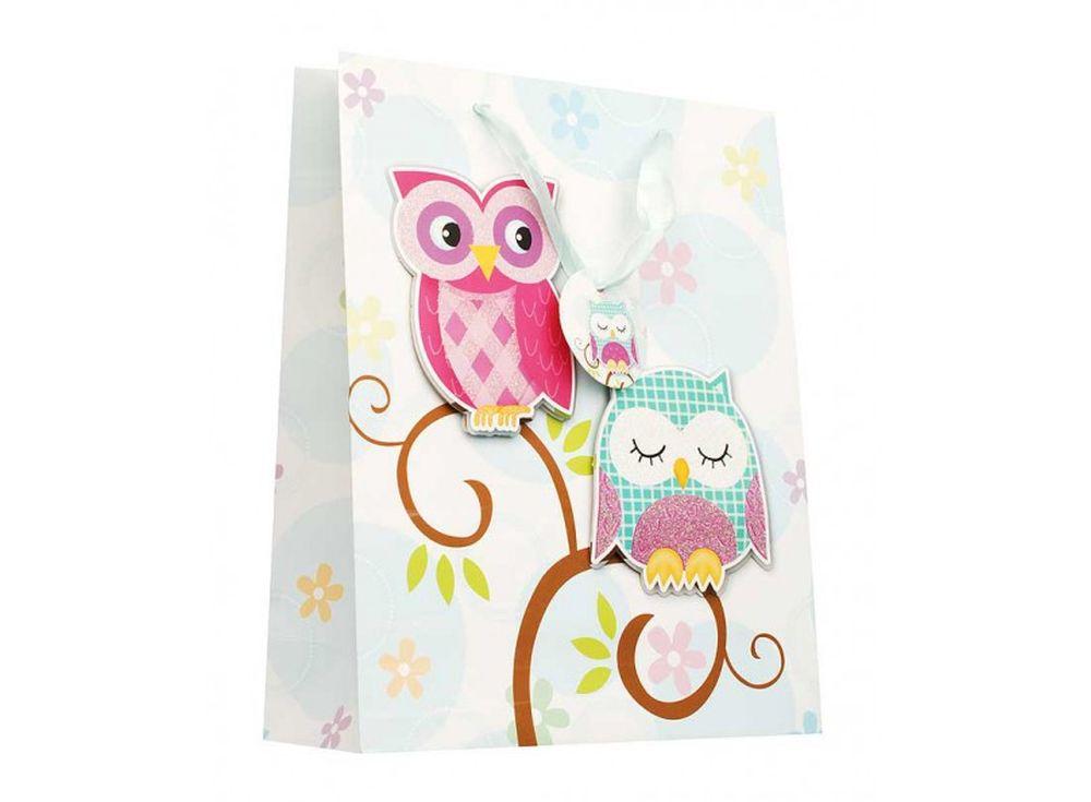 Подарочный пакет «Совушки»Подарочные пакеты<br><br><br>Артикул: 1410-SB<br>Размер: 30x12x42 см