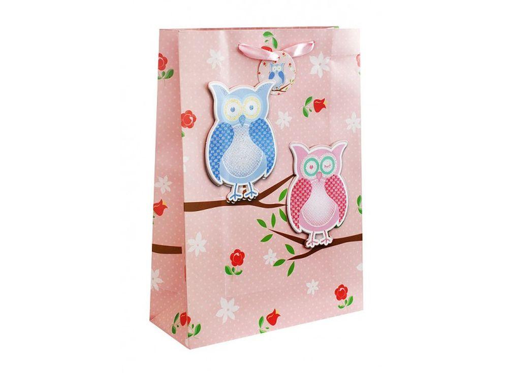 Подарочный пакет «3 совы на розовом»Подарочные пакеты<br><br><br>Артикул: 1412-SB<br>Размер: 18x8x24 см