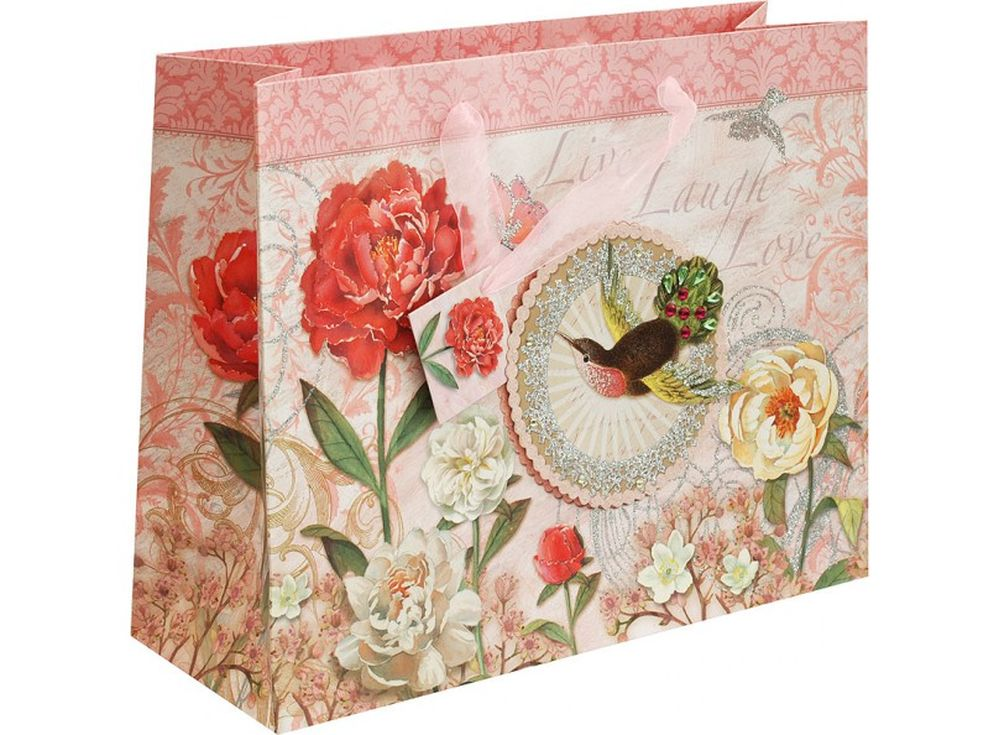 Подарочный пакет «Маленькая колибри»Подарочные пакеты<br><br><br>Артикул: 1473M-SB<br>Размер: 35x28x12,5 см
