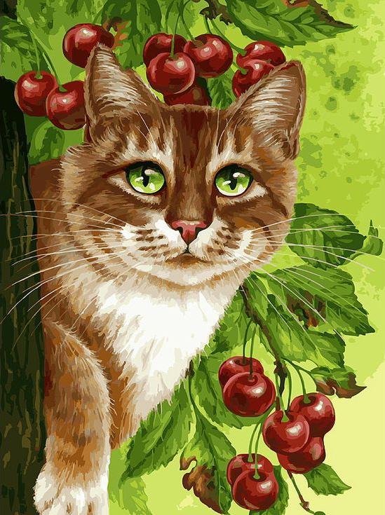 «Кот на вишневом дереве» Ирины ГармашовойКартины по номерам Белоснежка<br><br><br>Артикул: 149-AS<br>Основа: Холст<br>Сложность: очень сложные<br>Размер: 30x40 см<br>Количество цветов: 36<br>Техника рисования: Без смешивания красок