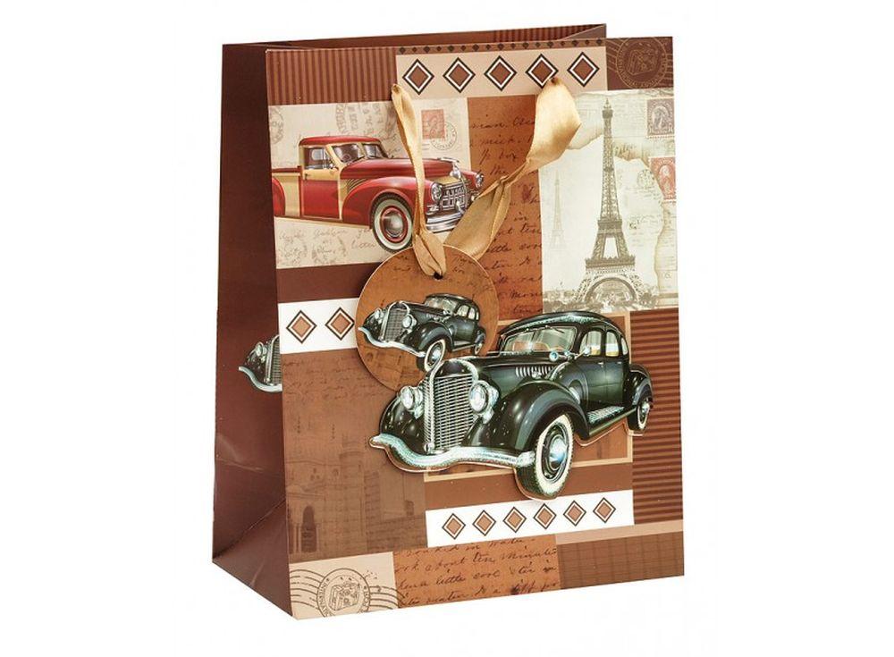 Подарочный пакет «Ретро машины»Подарочные пакеты<br><br><br>Артикул: 1512S-SB<br>Размер: 18x10x23 см