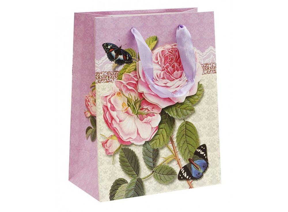 Подарочный пакет «Бурбонские розы»Подарочные пакеты<br><br><br>Артикул: 1552S-SB<br>Размер: 18x10x23 см