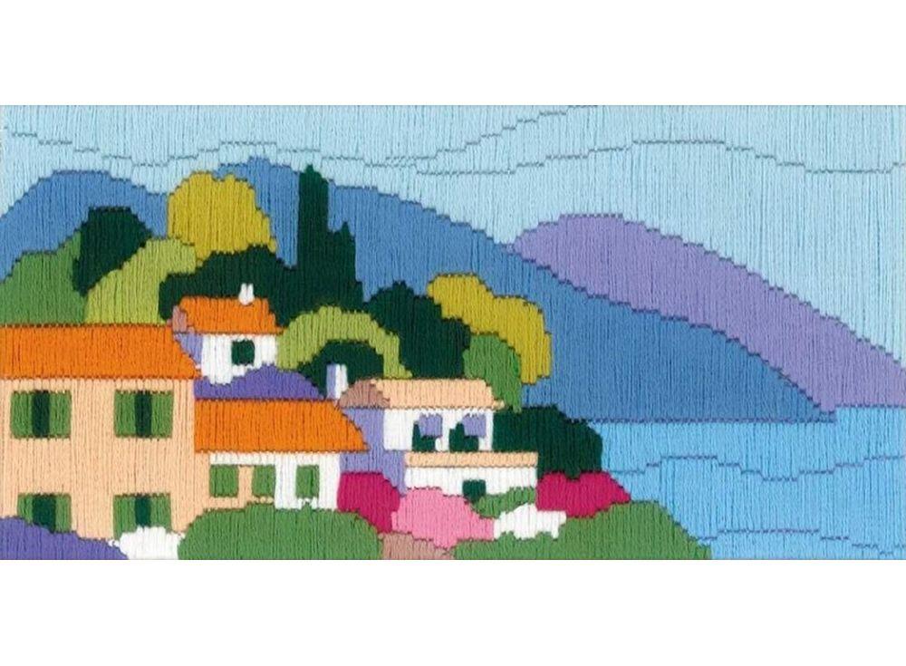 Набор для вышивания «Городок у моря» (длинный вертикальный стежок)Вышивка крестом Риолис<br><br><br>Артикул: 1631<br>Основа: канва 13 Zweigart-Twist страмин<br>Размер: 24x12 см<br>Техника вышивки: длинный вертикальный стежок<br>Серия: Риолис (Сотвори Сама)<br>Тип схемы вышивки: Цветная схема<br>Количество цветов: 15<br>Художник, дизайнер: Анастасия Яновская<br>Заполнение: Полное<br>Рисунок на канве: нанесён рисунок<br>Техника: Длинный вертикальный стежок<br>Нитки: шерсть/акрил Safil