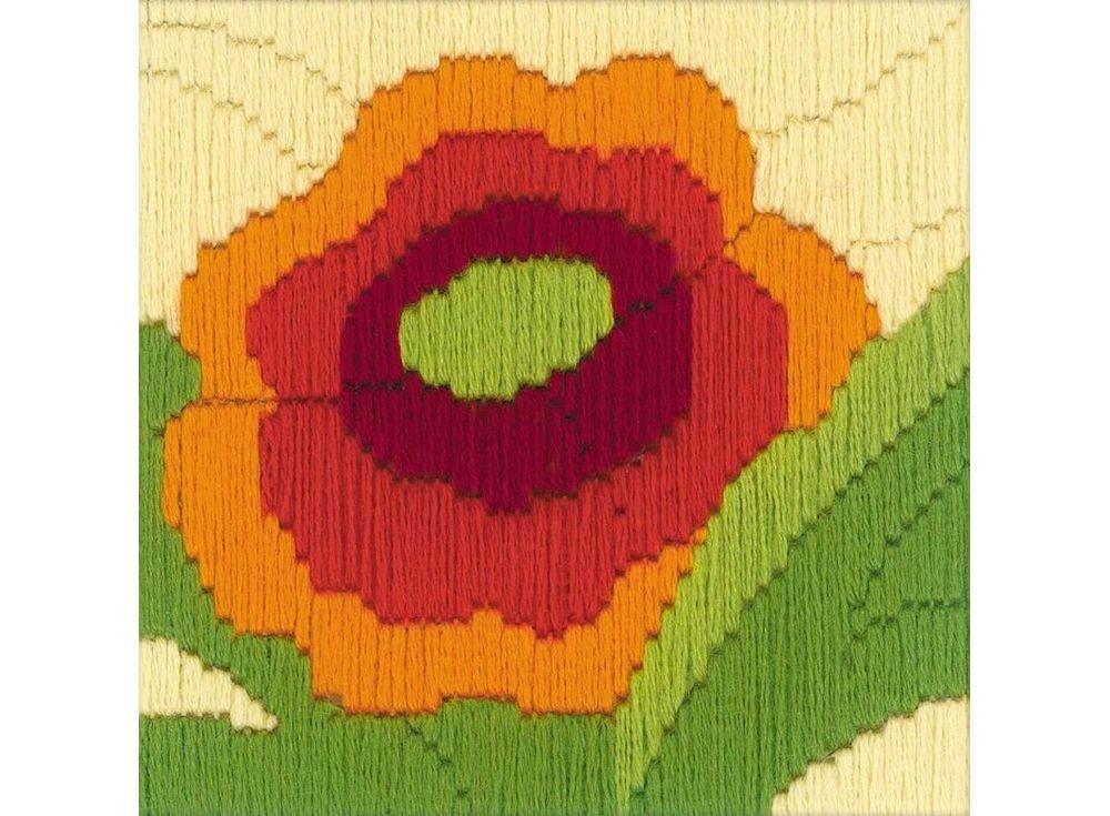 Набор для вышивания «Мак» (длинный вертикальный стежок)Вышивка крестом Риолис<br><br><br>Артикул: 1632<br>Основа: канва 13 Zweigart-Twist страмин<br>Размер: 10x10 см<br>Техника вышивки: длинный вертикальный стежок<br>Серия: Риолис (Сотвори Сама)<br>Тип схемы вышивки: Цветная схема<br>Количество цветов: 6<br>Художник, дизайнер: Анастасия Яновская<br>Заполнение: Полное<br>Рисунок на канве: нанесён рисунок<br>Техника: Длинный вертикальный стежок<br>Нитки: шерсть/акрил Safil