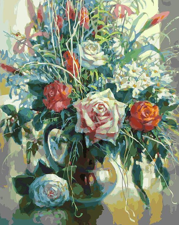 «Натюрморт с белой розой» Елены КалашниковойКартины по номерам Белоснежка<br><br><br>Артикул: 192-AB<br>Основа: Холст<br>Сложность: очень сложные<br>Размер: 40x50 см<br>Количество цветов: 40<br>Техника рисования: Без смешивания красок