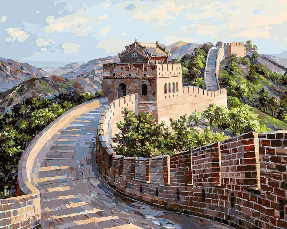 Картина по номерам «Великая Китайская стена» творческого коллектива ArtemisКартины по номерам Белоснежка<br><br><br>Артикул: 195-AB<br>Основа: Холст<br>Сложность: очень сложные<br>Размер: 40x50 см<br>Количество цветов: 32<br>Техника рисования: Без смешивания красок