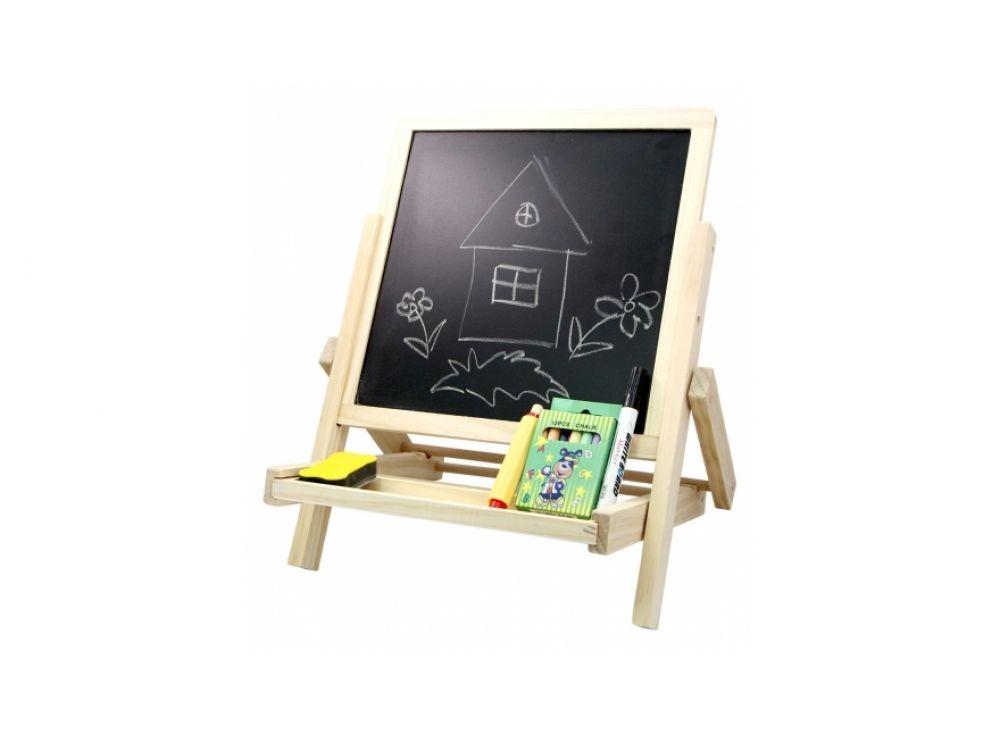 Доска для рисования двухсторонняя (мольберт)Магнитные наборы<br>Компактная доска-мольберт имеет две стороны для рисования, а это значит, что у ребенка еще больше возможностей для творчества и развития. Двухсторонняя доска выполнена из самого экологичного материала - дерева.<br> <br> На черной стороне можно писать и рисова...<br><br>Артикул: 2043<br>Вес: 1200 г<br>Размер упаковки: 40x37x6 см<br>Возраст: от 3 лет