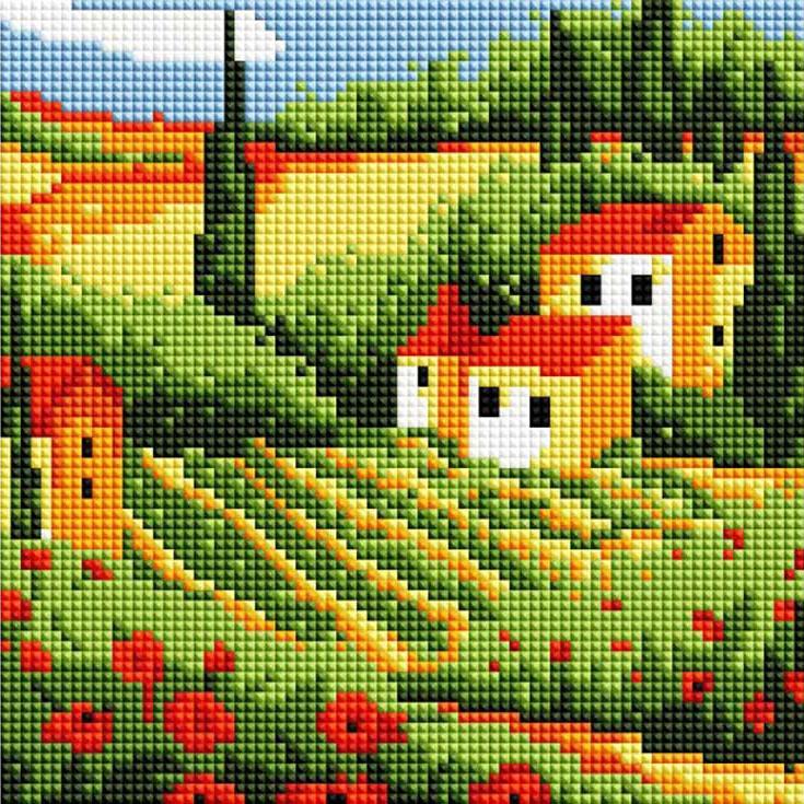 Стразы «Сельский пейзаж»Алмазная вышивка фирмы Белоснежка<br><br><br>Артикул: 371-ST-S<br>Основа: Холст на подрамнике<br>Сложность: средние<br>Размер: 20x20 см<br>Выкладка: Полная<br>Количество цветов: 11<br>Тип страз: Квадратные