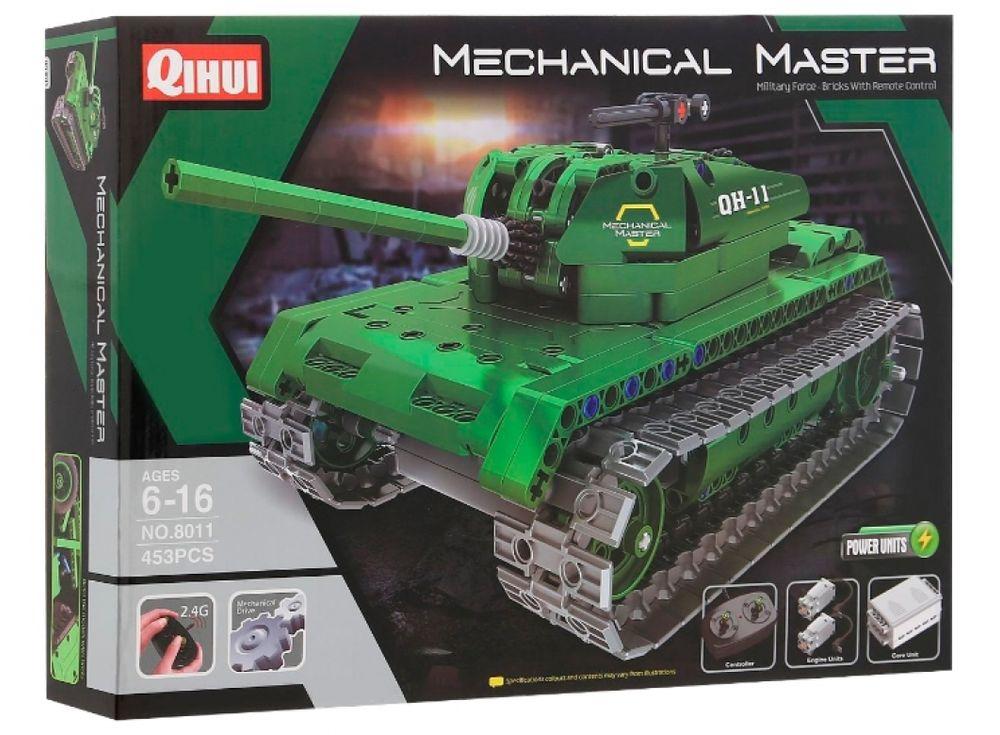 Конструктор QIHUI электромеханический «Tank»Радиоуправляемые конструкторы QIHUI<br>Радиоуправляемый Tank  является не просто игрушкой, но и конструктором. Играя с таким конструктором, ребенок почувствует себя не только владельцем мощной техники, но и инженером, собирающим модель. В набор входят элементы для сборки радиоуправляемой боево...<br><br>Артикул: 8011<br>Вес: 1200 г<br>Материал: Пластик<br>Размер упаковки: 51x36x7 см<br>Возраст: от 6 лет