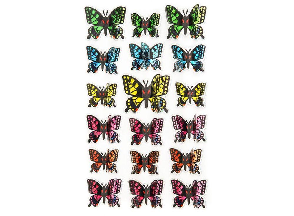Декоративные наклейки «Пёстрые бабочки»Бумага и материалы для скрапбукинга<br>Наклейки изготовлены из цветной пленки:<br><br><br>верхняя часть - объемные крылышки;<br>нижняя часть (основа наклейки) - приклеена на лист-подложку.<br><br><br>Яркие декоративные наклейки украсят любые изделия, оформленные в стиле скрапбукинг: альбомы, блокноты,...<br><br>Артикул: 804-DB<br>Размер: 9,5x15 см<br>Материал: Цветная пленка