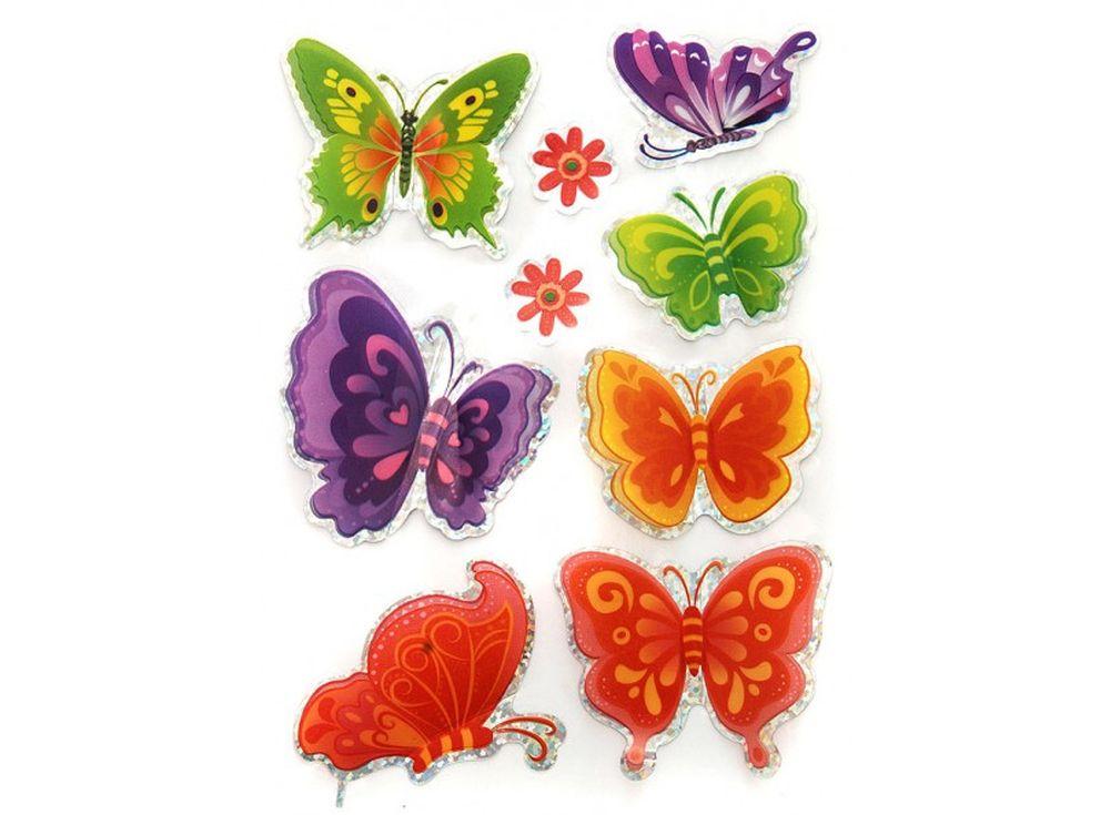 Декоративные наклейки «Красивые бабочки»Бумага и материалы для скрапбукинга<br>Наклейки изготовлены из цветной пленки:<br><br><br>верхняя часть - объемные крылышки;<br>нижняя часть (основа наклейки) - приклеена на лист-подложку.<br><br><br>Яркие декоративные наклейки украсят любые изделия, оформленные в стиле скрапбукинг: альбомы, блокноты,...<br><br>Артикул: 806-DB<br>Размер: 9,5x15 см<br>Материал: Цветная пленка