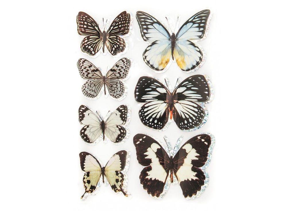 Декоративные наклейки «Большие бабочки»Бумага и материалы для скрапбукинга<br>Наклейки изготовлены из цветной пленки:<br><br><br>верхняя часть - объемные крылышки;<br>нижняя часть (основа наклейки) - приклеена на лист-подложку.<br><br><br>Яркие декоративные наклейки украсят любые изделия, оформленные в стиле скрапбукинг: альбомы, блокноты,...<br><br>Артикул: 810-DB<br>Размер: 9,5x15 см<br>Материал: Цветная пленка