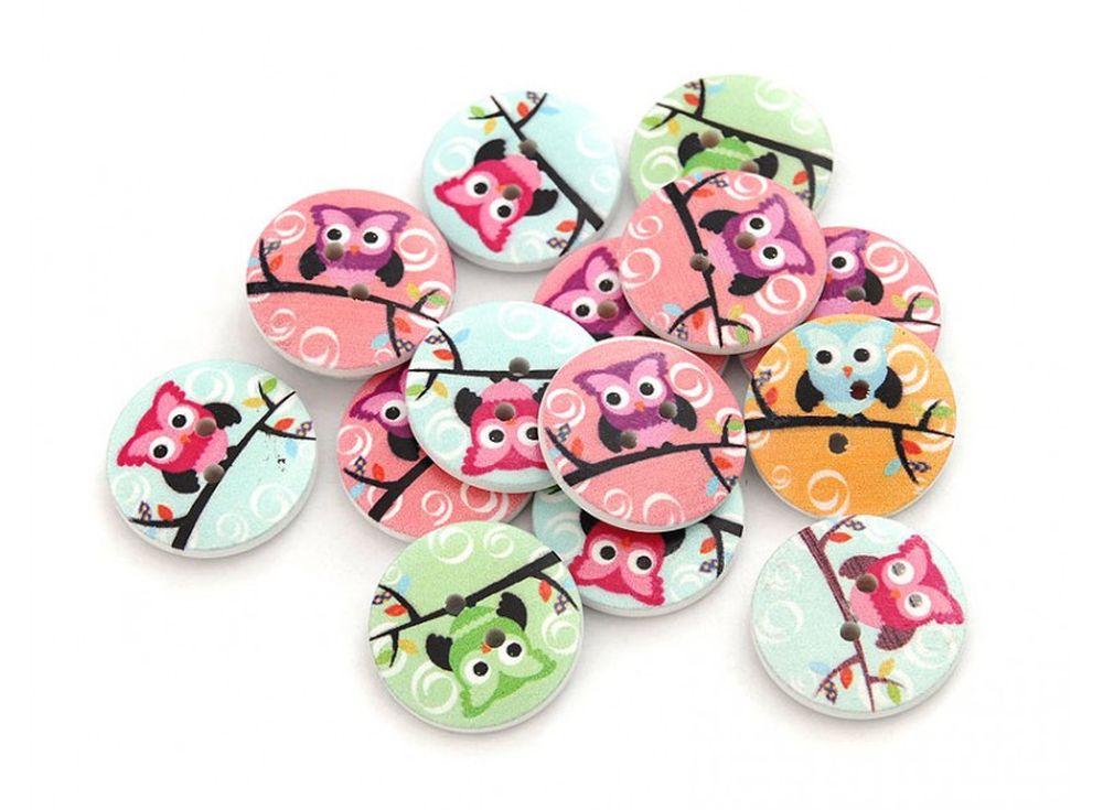Пуговицы декоративные Совы цветныеБумага и материалы для скрапбукинга<br><br><br>Артикул: 880-DB<br>Размер: 2 см<br>Количество: 25 шт.<br>Материал: Дерево