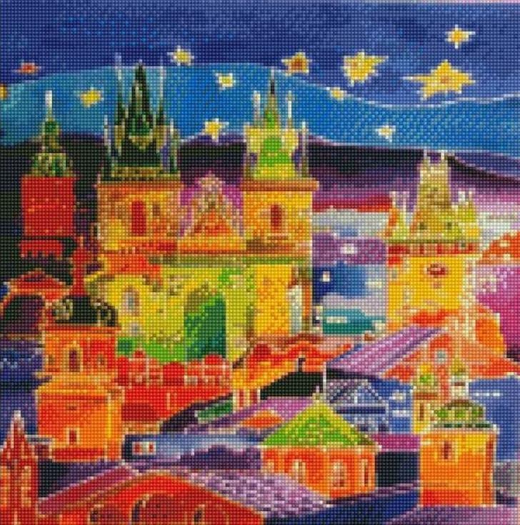 Стразы «Европейский город»Цветной<br><br><br>Артикул: CCH-004<br>Основа: Холст на подрамнике<br>Сложность: сложные<br>Размер: 20x30 см<br>Выкладка: Полная<br>Количество цветов: 20-35<br>Тип страз: Круглые непрозрачные (акриловые)