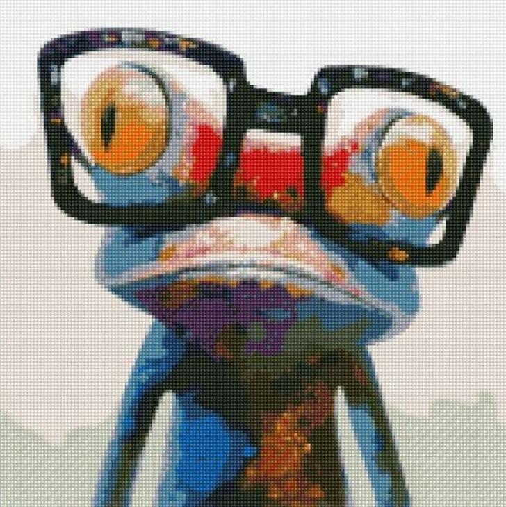 Стразы «Лягушка в очках»Цветной<br><br><br>Артикул: CEP-001<br>Основа: Холст на подрамнике<br>Сложность: сложные<br>Размер: 30x40 см<br>Выкладка: Полная<br>Количество цветов: 20-35<br>Тип страз: Круглые непрозрачные (акриловые)