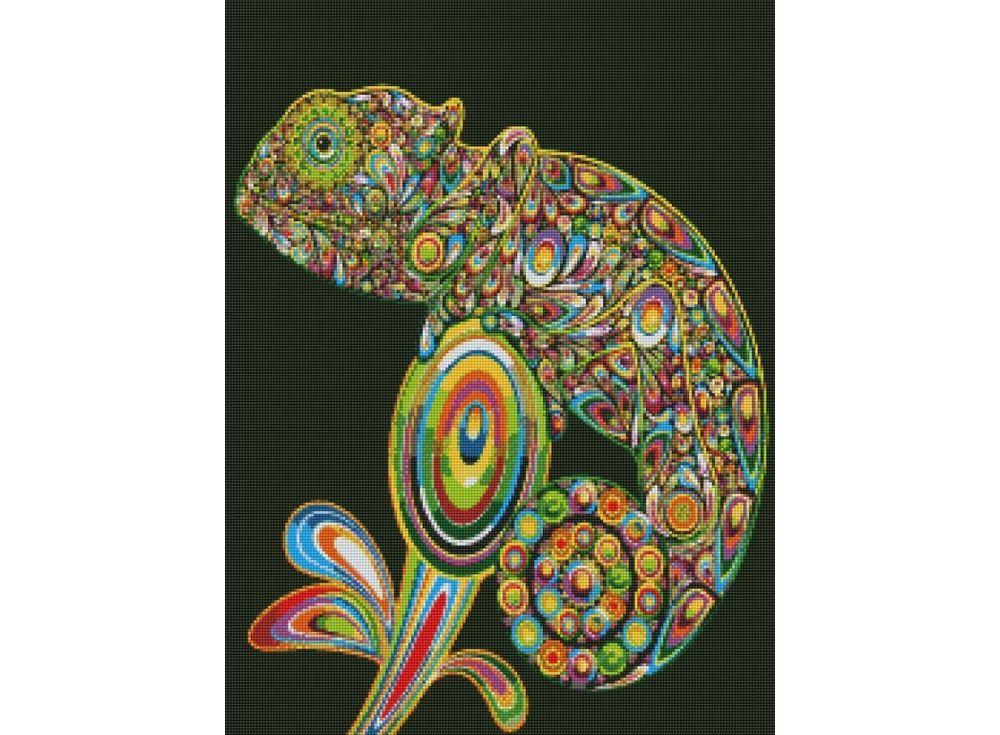 Стразы «Хамелеон»Цветной<br><br><br>Артикул: CEP-005<br>Основа: Холст на подрамнике<br>Сложность: сложные<br>Размер: 30x40 см<br>Выкладка: Полная<br>Количество цветов: 20-35<br>Тип страз: Круглые непрозрачные (акриловые)