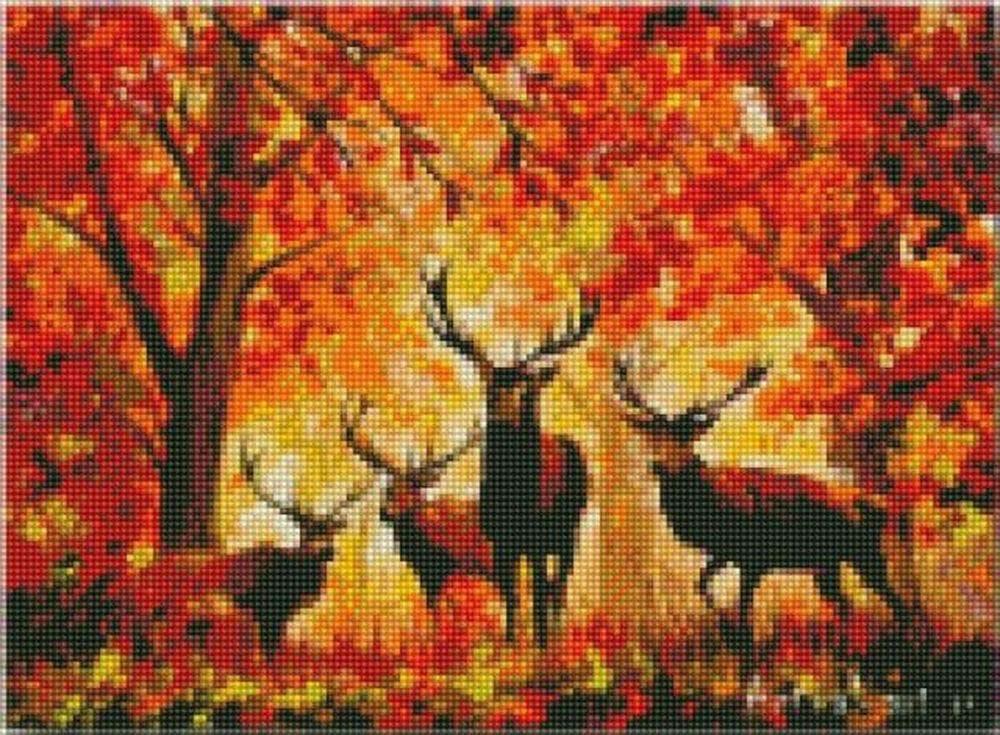Олени в осеннем лесу вышивка