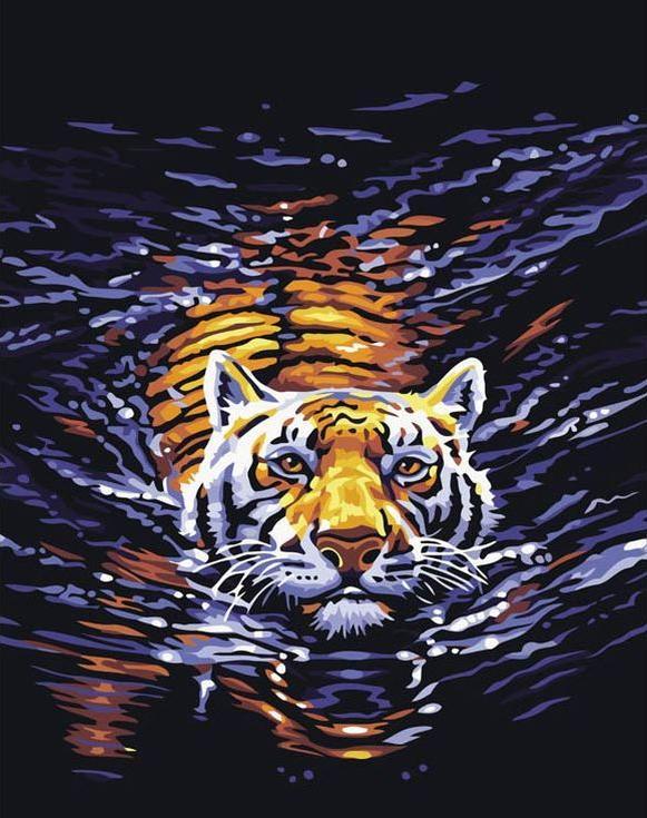 Стразы «Плывущий тигр»Алмазная вышивка Color Kit (Колор Кит)<br><br><br>Артикул: CK1158<br>Основа: Холст на подрамнике<br>Сложность: сложные<br>Размер: 40x50 см<br>Выкладка: Полная<br>Количество цветов: 13<br>Тип страз: Круглые прозрачные (стеклянные)