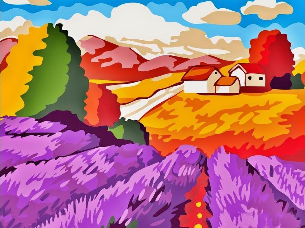 Картина по номерам «Лавандовые поля»Раскраски по номерам Paintboy (Original)<br><br><br>Артикул: E109_R<br>Основа: Холст<br>Сложность: легкие<br>Размер: 30x40 см<br>Количество цветов: 18<br>Техника рисования: Без смешивания красок