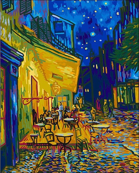 «Ночная терраса кафе» Ван ГогаРаскраски по номерам Paintboy (Original)<br><br><br>Артикул: G363_R<br>Основа: Холст<br>Сложность: средние<br>Размер: 40x50 см<br>Количество цветов: 27<br>Техника рисования: Без смешивания красок