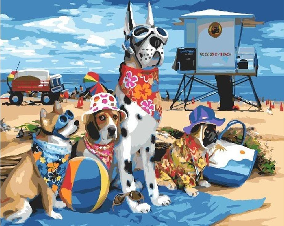 «Собаки на пляже»Раскраски по номерам Paintboy (Original)<br><br><br>Артикул: GX3255_R<br>Основа: Холст<br>Сложность: сложные<br>Размер: 40x50 см<br>Количество цветов: 28<br>Техника рисования: Без смешивания красок