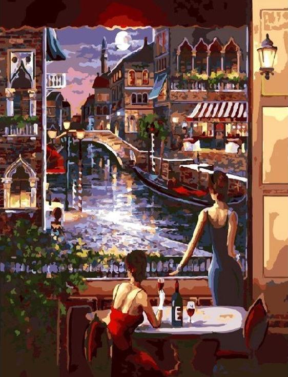 Картина по номерам «Ночная Венеция» Джеймса ЛиРаскраски по номерам Paintboy (Original)<br><br><br>Артикул: GX3459_R<br>Основа: Холст<br>Сложность: сложные<br>Размер: 40x50 см<br>Количество цветов: 28<br>Техника рисования: Без смешивания красок