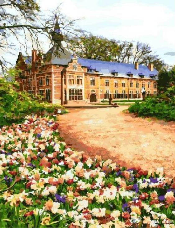 Картина по номерам «Замок в Бельгии»Цветной (Standart)<br><br><br>Артикул: GX3464_Z<br>Основа: Холст<br>Сложность: сложные<br>Размер: 40x50 см<br>Количество цветов: 25<br>Техника рисования: Без смешивания красок