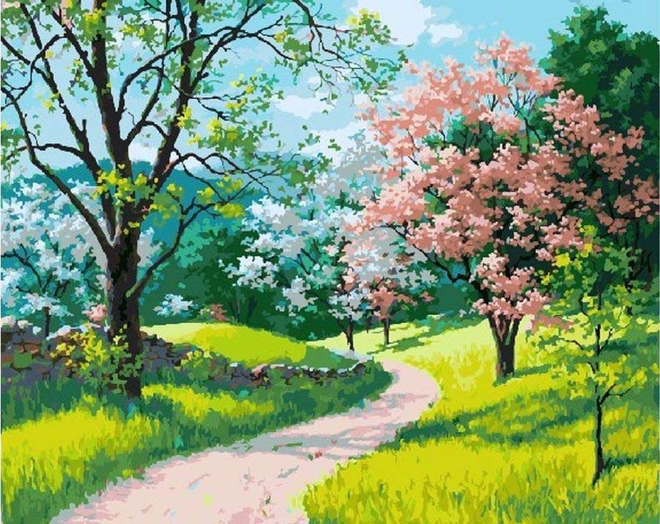 «Цветущая весна» Артура СарноффаЦветной (Standart)<br><br><br>Артикул: GX3468_Z<br>Основа: Холст<br>Сложность: сложные<br>Размер: 40x50 см<br>Количество цветов: 28<br>Техника рисования: Без смешивания красок