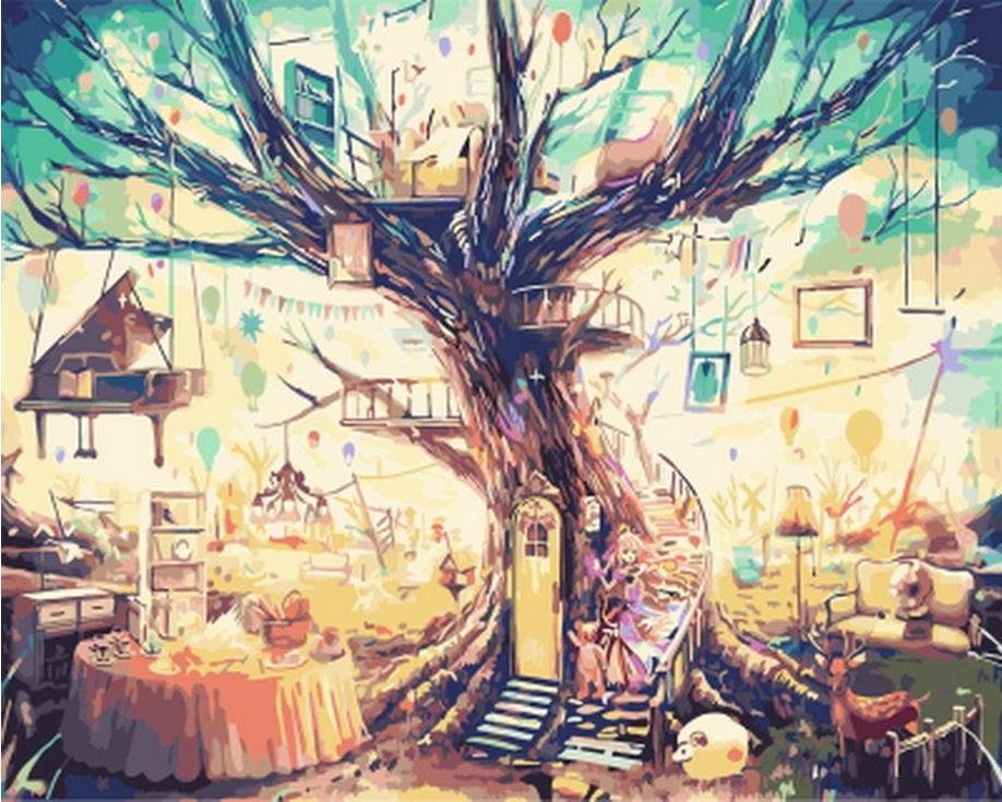 Картина по номерам «Сказочное дерево»Цветной (Standart)<br><br><br>Артикул: GX3507_Z<br>Основа: Холст<br>Сложность: средние<br>Размер: 40x50 см<br>Количество цветов: 26<br>Техника рисования: Без смешивания красок