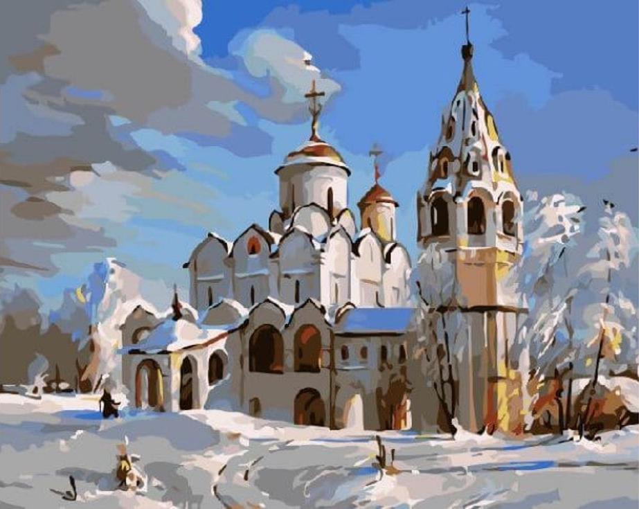 Картина по номерам «Зимняя церковь»Цветной (Standart)<br><br><br>Артикул: GX3537_Z<br>Основа: Холст<br>Сложность: сложные<br>Размер: 40x50 см<br>Количество цветов: 25<br>Техника рисования: Без смешивания красок