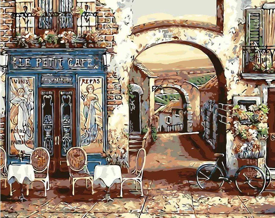 «Уличное кафе» Джона О'БрайенаЦветной (Standart)<br><br><br>Артикул: GX3547_Z<br>Основа: Холст<br>Сложность: очень сложные<br>Размер: 40x50 см<br>Количество цветов: 25<br>Техника рисования: Без смешивания красок