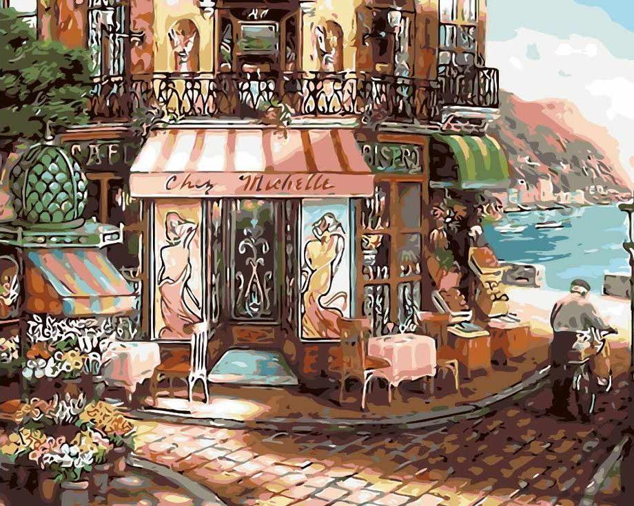 «Кафе на набережной» Джона О'БрайенаЦветной (Standart)<br><br><br>Артикул: GX3548_Z<br>Основа: Холст<br>Сложность: средние<br>Размер: 40x50 см<br>Количество цветов: 24<br>Техника рисования: Без смешивания красок
