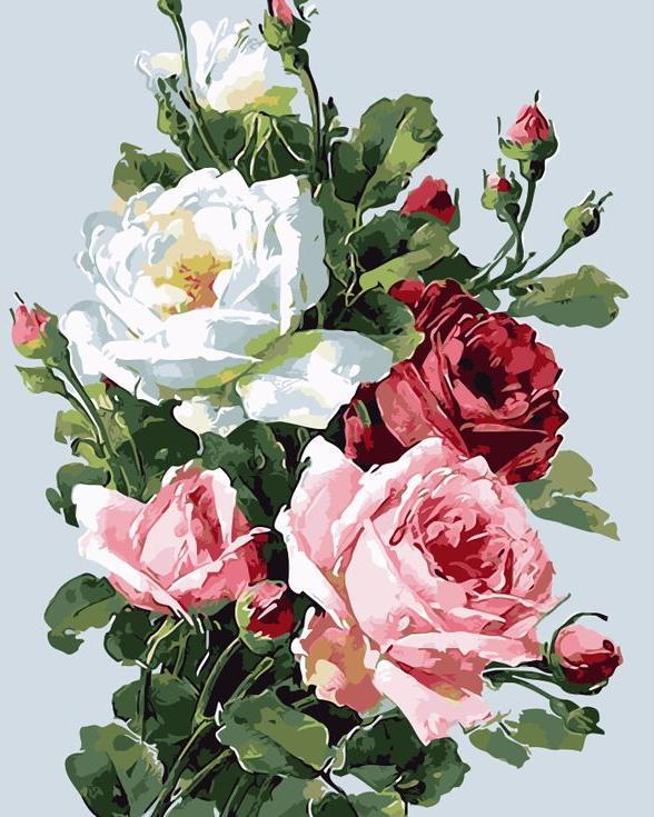 «Розы»Цветной (Standart)<br><br><br>Артикул: GX3549_Z<br>Основа: Холст<br>Сложность: сложные<br>Размер: 40x50 см<br>Количество цветов: 29<br>Техника рисования: Без смешивания красок