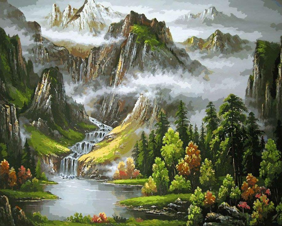 «Утро в горах»Цветной (Standart)<br><br><br>Артикул: GX3550_Z<br>Основа: Холст<br>Сложность: средние<br>Размер: 40x50 см<br>Количество цветов: 24<br>Техника рисования: Без смешивания красок