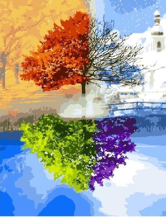«Сезоны»Цветной (Standart)<br><br><br>Артикул: GX3596_Z<br>Основа: Холст<br>Сложность: сложные<br>Размер: 40x50 см<br>Количество цветов: 31<br>Техника рисования: Без смешивания красок
