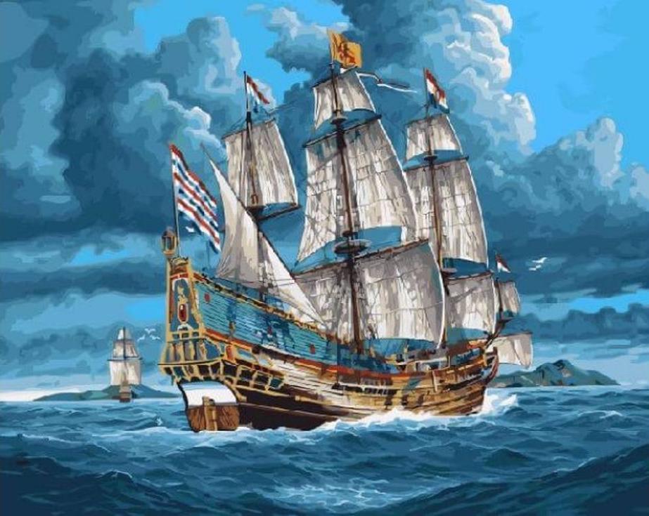 Картина по номерам «Парусник в открытом море»Цветной (Standart)<br><br><br>Артикул: GX3602_Z<br>Основа: Холст<br>Сложность: сложные<br>Размер: 40x50 см<br>Количество цветов: 30<br>Техника рисования: Без смешивания красок