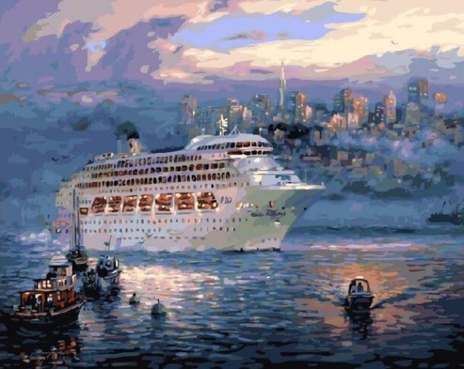 Картина по номерам «Океанский лайнер» Цоа ЙенаЦветной (Standart)<br><br><br>Артикул: GX3605_Z<br>Основа: Холст<br>Сложность: сложные<br>Размер: 40x50 см<br>Количество цветов: 25<br>Техника рисования: Без смешивания красок